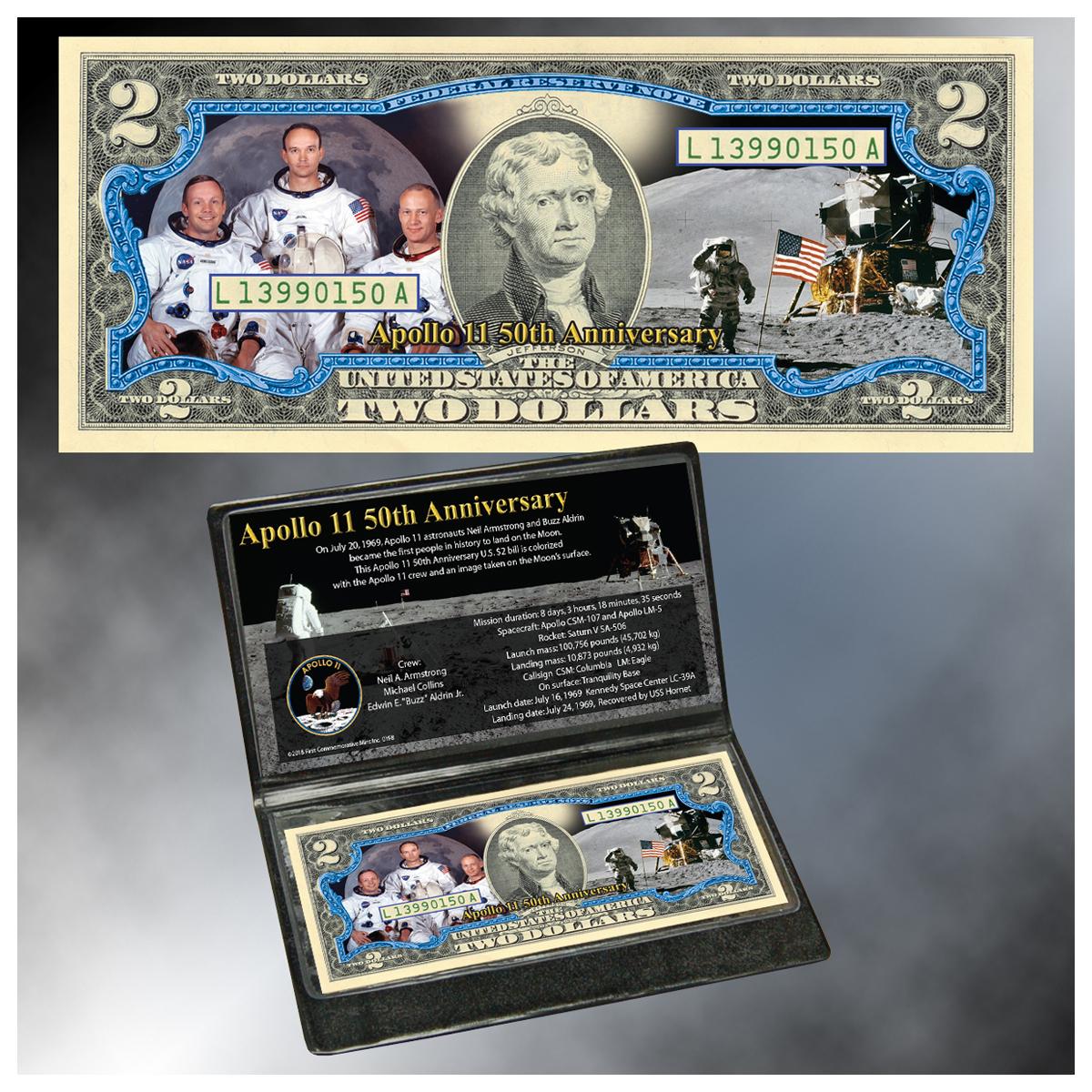 Apollo 11 50th Anniversary Colorized $2 Bill