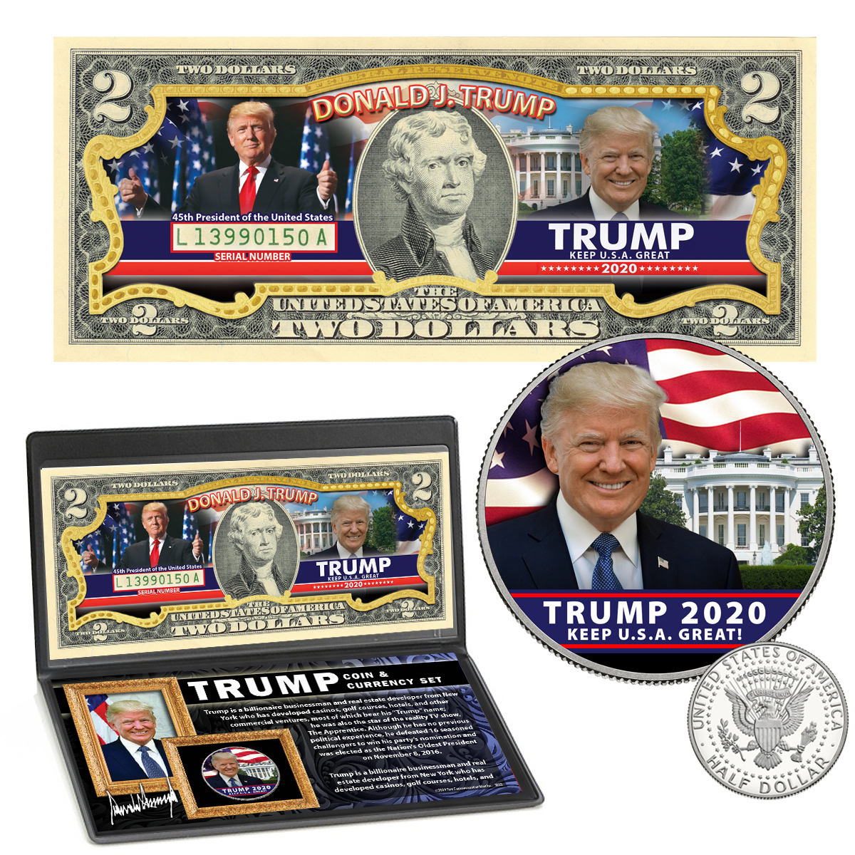 Donald Trump 2020 Colorized Coin & Currency