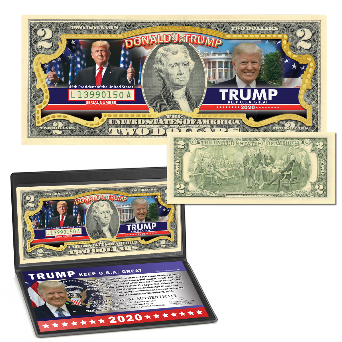 Donald Trump 2020 Colorized $2 Bill