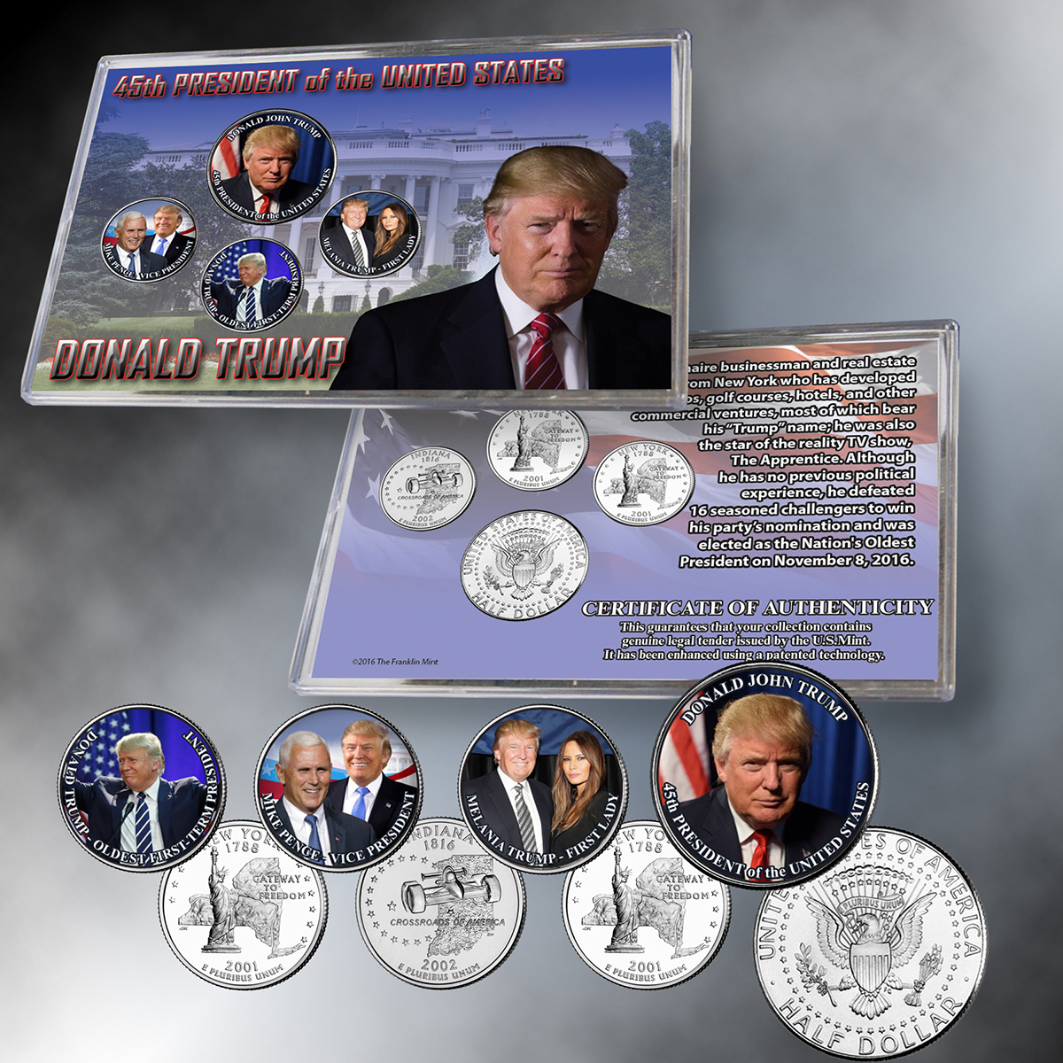 Donald Trump 45th President 4 Coin Set