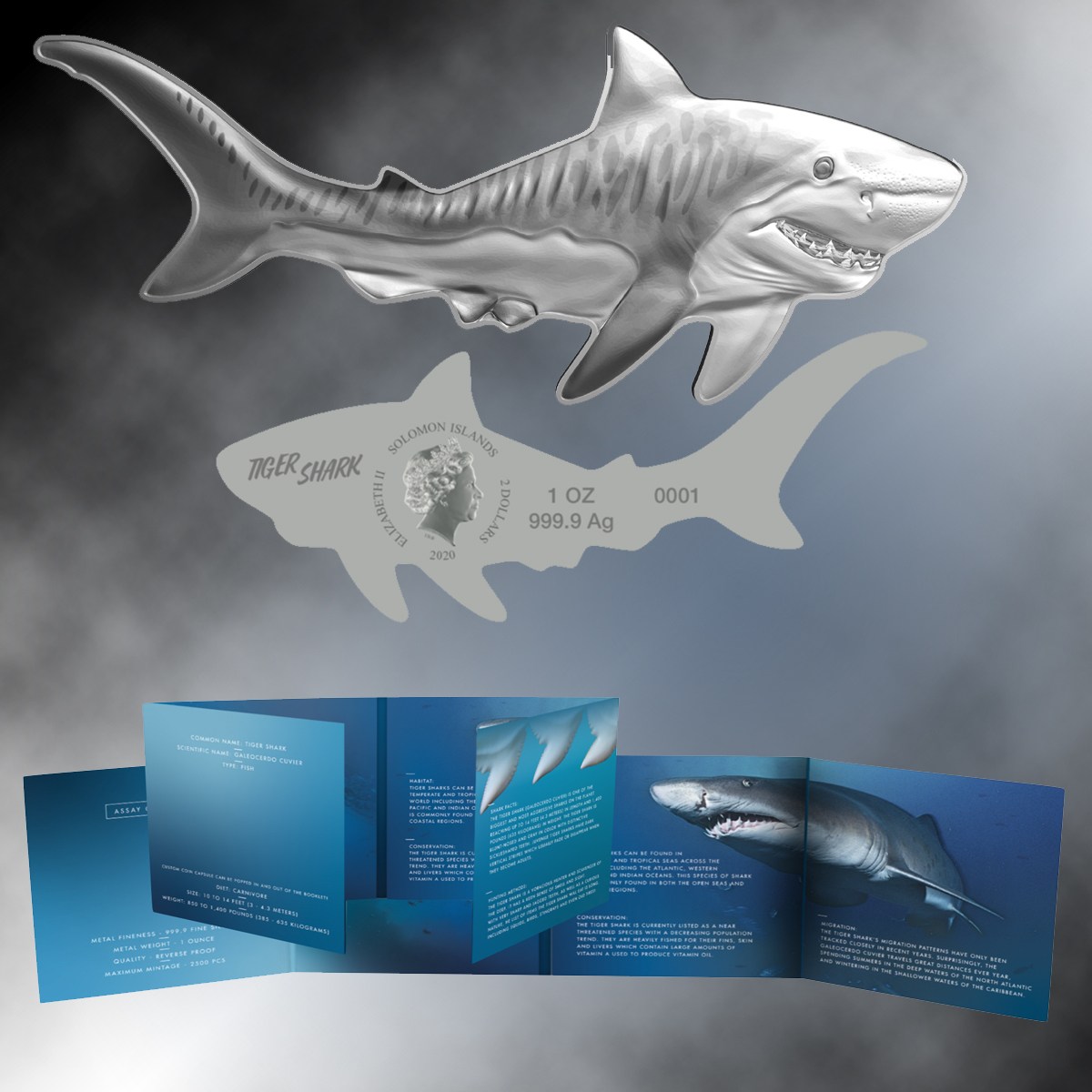 2020 Tiger Shark Shaped 1oz. Silver $2 Coin