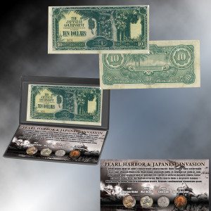 Pearl Harbor Coin Collection and Japanese Invasion Note