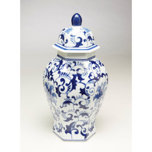 Blue & White Hexagon Ginger Jar