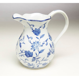 Blue & White Pitcher with Floral