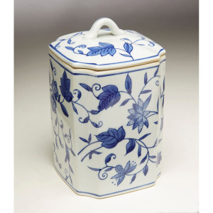 Blue & White Square Floral Ginger Jar