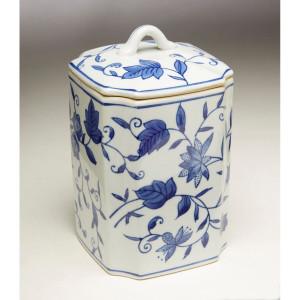 Blue & White Square Floral Ginger Jar