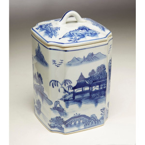 Blue & White Square Oriental Ginger Jar