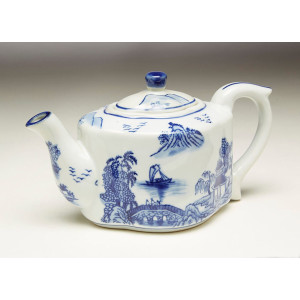 "Blue & White 8"" Tea Pot Oriental Design"