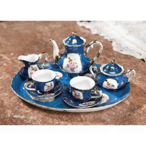 Miniature Blue with Floral Accents Tea Set with Tray