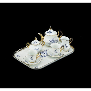 Miniature Tea Set with Blue Flowers, 10 pc