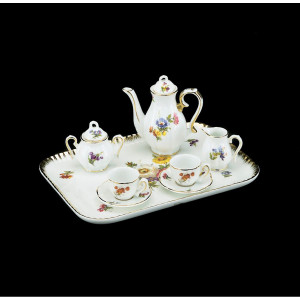 Miniature Tea Set with Red Flowers, 10 pc