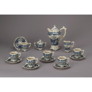 Blue & White Tea Set 15pc
