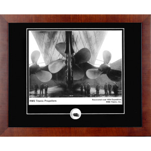 Titanic Propellers Framed Photograph with Coal Relic