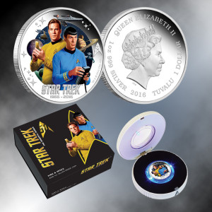 2016 Star Trek 50th Anniversary Kirk & Spock Colorized $1 Tuvalu Coin