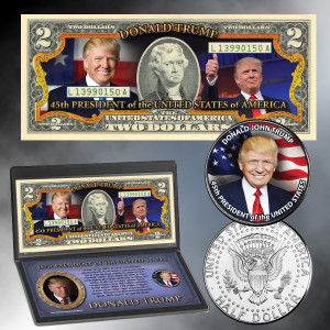 Donald Trump 45th President Colorized Coin & Currency
