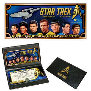 Star Trek 1/10th Gram 24K Gold Aurum Note