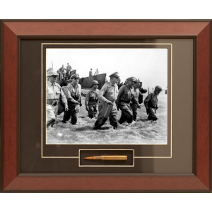 General MacArthur's Triumphant Return Framed Photograph With M1 Garand Bullet