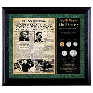 New York Times JFK Assassination Framed Coin Collection