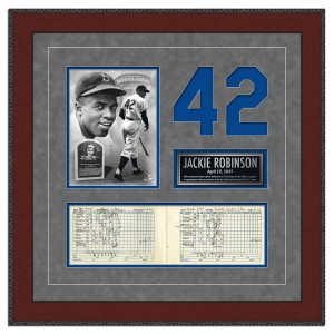 Jackie Robinson- His final game replica scorecard from the National Baseball Hall of Fame