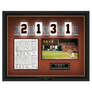 Cal Ripken-His game breaking record scorecard, an exact replica from the Baseball Hall of Fame