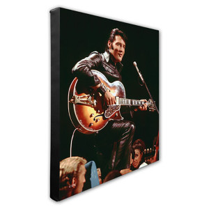 Elvis Presley Wearing Black Leather Jacket (#4) Stretched Canvas