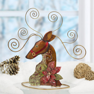 Metal Tabletop Card Holder - Reindeer