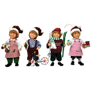 "9"" Working Elf Ornaments, 4 assorted"