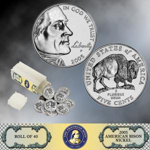 Roll of 2005 Buffalo Nickels