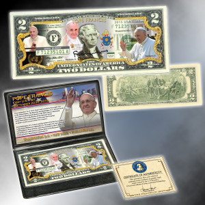 2015 Papal Visit Colorized $2 Bill
