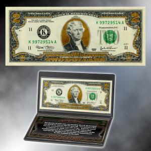 22K Gold Layered $2 Bill