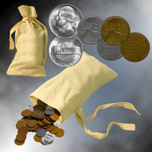 Sack of 35 WWII Coins
