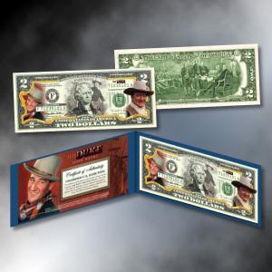 John Wayne Colorized $2 Bill