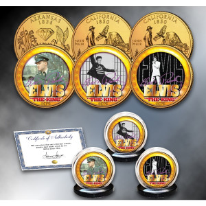 ELVIS PRESLEY Life and Times 3-Coin Set 24K Gold Plated Quarters