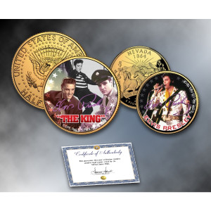 "ELVIS PRESLEY ""The King"" Nevada Quarter & JFK Half Dollar 2-Coin Set 24K Gold Plated"