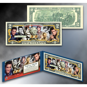ELVIS PRESLEY Life & Times Colorized $2 Bill
