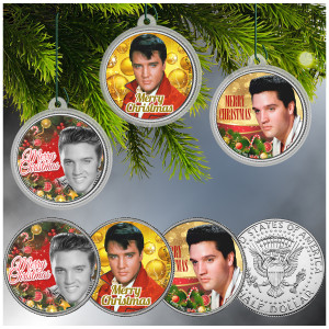 ELVIS PRESLEY JFK Half Dollar 3-Coin Set with Christmas Tree Ornament Capsules