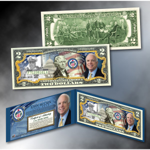 John McCain Colorized $2 Bill