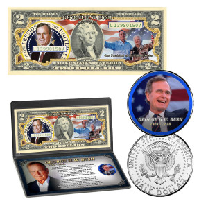 George H.W. Bush Colorized Coin & Currency