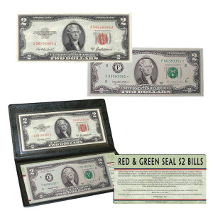 Red & Green Seal $2 Bills