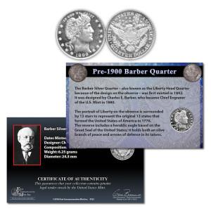 Pre-1900 Barber Silver Quarter