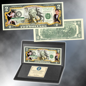 "Elvis ""The King"" Colorized $2 Bill"