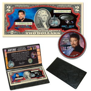 "Star Trek:TNG Coin & Currency Set - Riker"""
