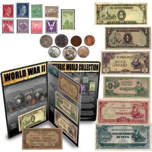 WWII Historic 23-Piece Coin, Note & Stamp World Collection