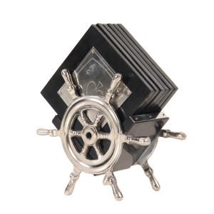 Alum/ Wood Coaster S/6 On Ship Wheel