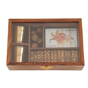 Wooden Game Set with Brass Goblet