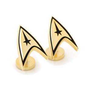 Star Trek The Original Series Gold Plated Delta Shield Cufflinks