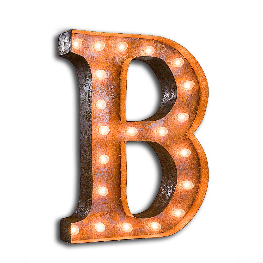 """Vintage Finished """"B"""" Marquee Light"""
