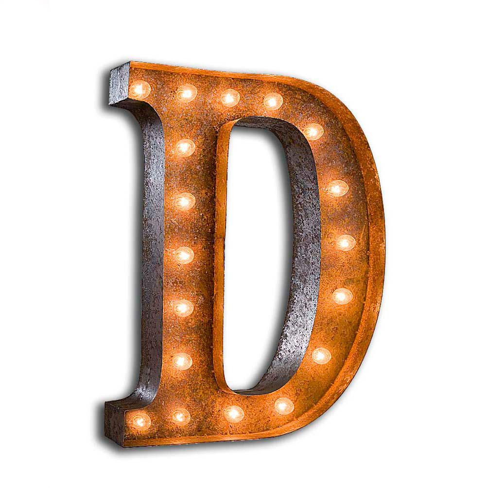 """Vintage Finished """"D"""" Marquee Light"""