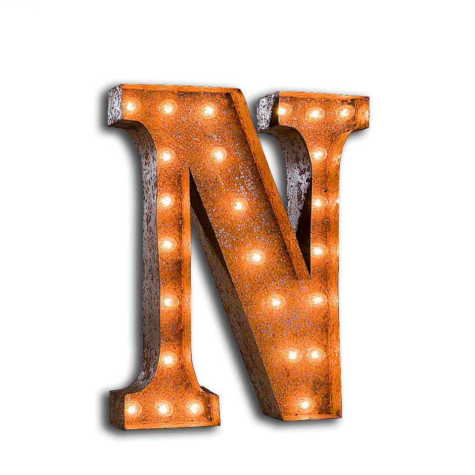 """Vintage Finished """"N"""" Marquee Light"""