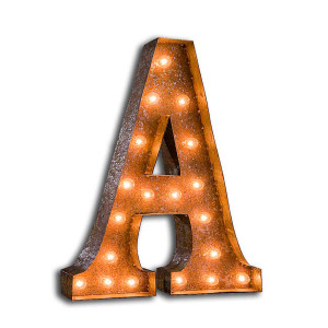 """Vintage Finished """"A"""" Marquee Light"""